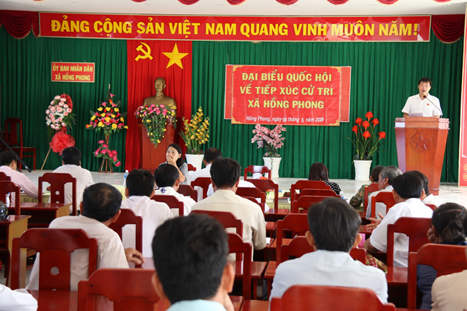 Mr. Le Quoc Phong, First Secretary of the Ho Chi Minh Communist Youth Union speaking