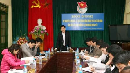 Mr Nguyen Long Hai had a speech at the meeting (Photo by HCYU).