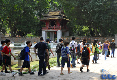 Travellers at the Temple of Literature in Hanoi