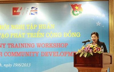 Ms Pham Phuong Chi delivers her speech at the opening ceremony
