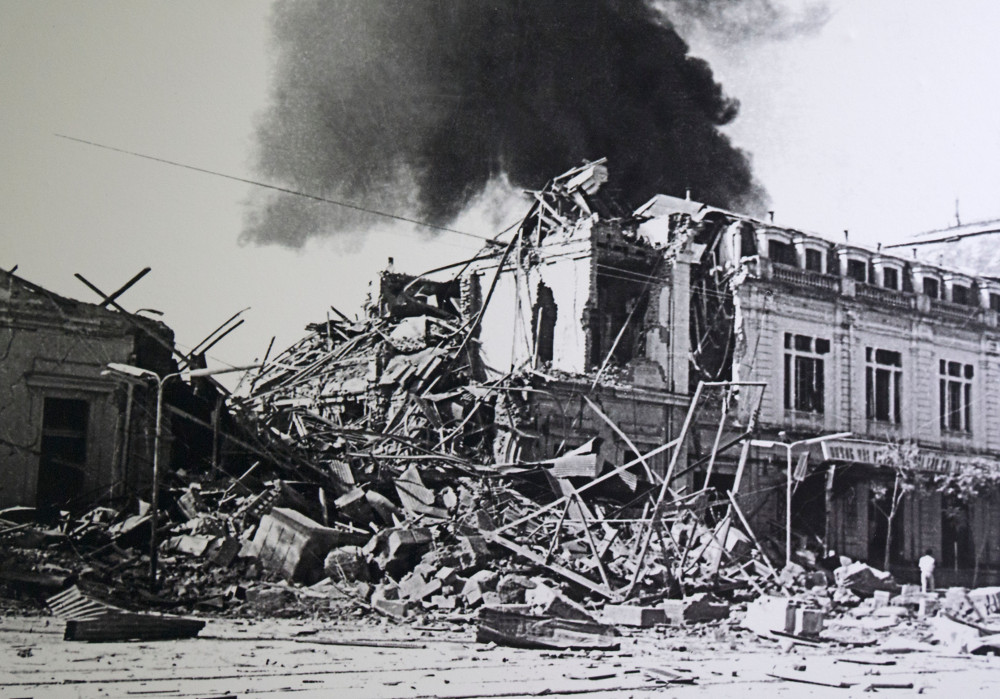 Photo of the bombing of Hanoi Station on Christmas Day 1972, from the Hoa Lo Museum in Hanoi.