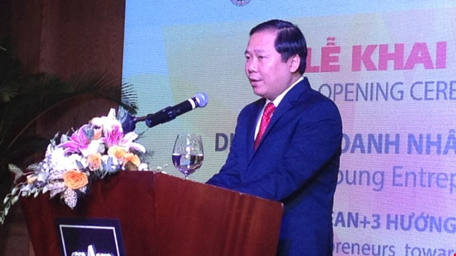 H.E. Nguyen Phi Long, President of Vietnam Youth Federation delivers remarks at the opening ceremony